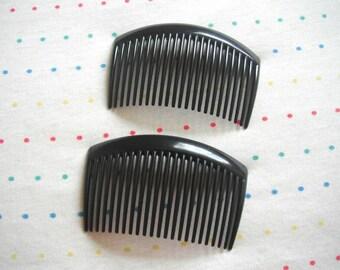 "Black Plastic Hair Combs, 3 1/4"" Wide (4)"