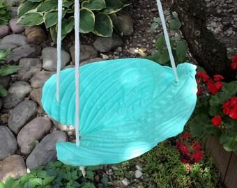 Cement Cast Ocean Blue Hanging Hosta, Bird feeder