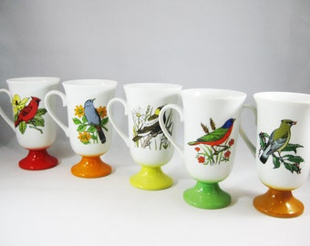 Vintage Bird Mugs, Colorful Pedestal Mug Set of Five