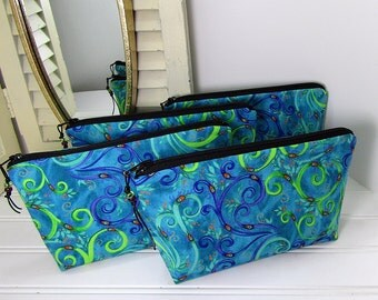 Makeup Bag, Set of 4, Blue Purple Green, Small cosmetic bag, Zipper pouch, Cosmetic pouch, made in Maine, bridesmaid gift