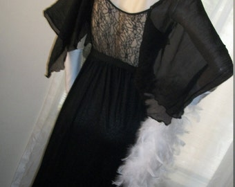 Edwardian Style Goth Black Gown Orig Design Size S/M Stunning Drape