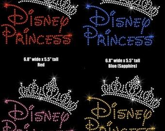 "6.8"""" Disney Princess Tiara crown iron on rhinestone transfer applique patch Disney font You choose colors"