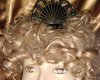 "Vintage Edwardian/ Flapper Era Ladies Rhinestone Hair Comb BIG 6"" Curve Top NOTICEABLE & Feminine"