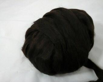 Suri Alpaca Roving, Dark Chocolate Color, Hand Dyed Roving,  Baby Fine Alpaca, 4oz listing