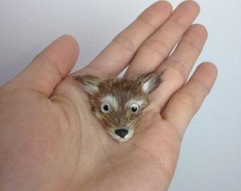 VTG Fox Pin Brooch Fur Handmade