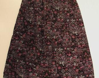 SALE 60s 70s hippie velvet skirt psychedelic paisley flower boho bohemian 12 A line