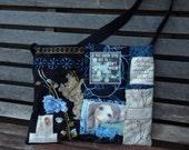 """Mixed Denim Fabric Patchwork Bag """"Angels"""", Sling Bag, Handmade Purse, Eco-Friendly bag, Bag, Shoulder Bag, Shades of Blue,Messenger Bag"""