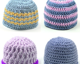 4 Unisex Baby Hats - PDF Crochet Pattern - Instant Download