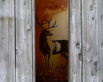 Rustic Artwork - Mule Deer Screenprint on Rusted Metal- FREE SHIPPING