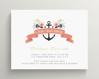 anchor bridal shower invitation // engagement party invitation // baby shower invitation // nautical // navy // floral // thank you note