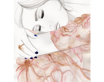 Rose Gold Dreams, original watercolor and mixed media fashion illustration by Jessica Durrant