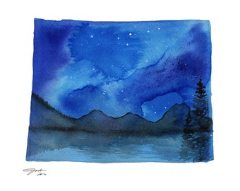 Wyoming, print from original watercolor illustration by Jessica Durrant from Painting the 50 States Project
