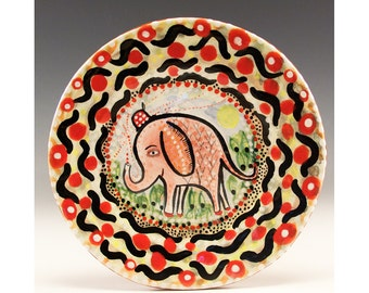 Small Plate - Painting by Jenny Mendes on a round ceramic dessert plate - Pink Elephant