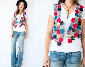 70s Vintage Yo-Yo Quilt Vest Jacket Gypsy Boho Vest Kitschy Novelty Menswear Vest Jacket