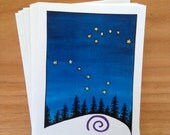 6 blank cards - The Bears - Big and Little Dipper constellation, North Star
