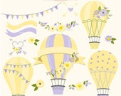 ON SALE Hot Air Balloons clip art, hot air balloon clip art, balloon clip art,yellow, flowers, instant download clip art