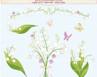ON SALE Flowers clipart, lily of the valley clipart, butterfly clipart, lily, bouquet, white flowers clipart, INSTANT Download