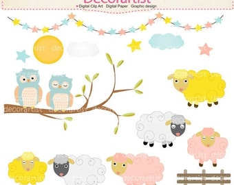ON SALE animals clipart ,animals farm Instant download Digital clipart , sheep clipart ,owls clipart, invitations, card making, instant
