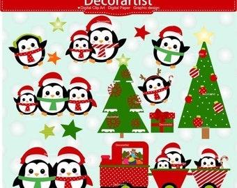 ON SALE Cute Christmas clip art, Santa claus Penguin clip art 2, Santa claus clip art, Christmas Penguin clip art, instant download