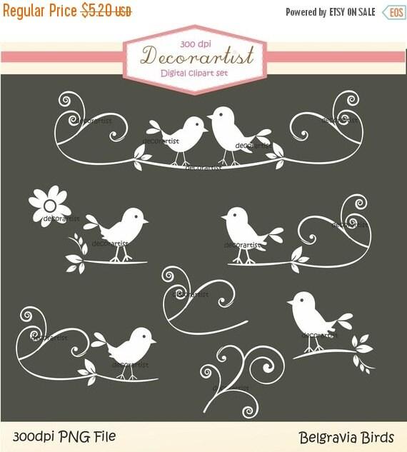 ON SALE Clip art bird,white birds clip art, whaite clipart,Silhouette black and white Belgravia bird collection