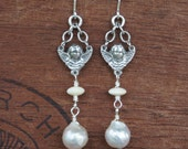 Silver Cherubs with Pearl Earrings