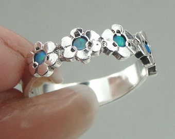 925 Silver Blue Opal Ring Size 6.5, Flowers Opal Ring, Engagement Ring, Everyday, Simple, Birthday, Wedding, Bridesmaid jewelry, Woman Gift