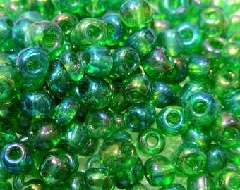 50g- 6/0 Glass Seed Beads transparent green rainbow AB finish 4mm round metallic beads 167
