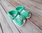 Baby Sandals, Knit Baby Shoes, Baby Bow Sandals, Green Baby Shoes
