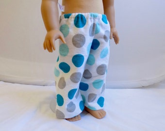 18 Inch Doll Clothes, Doll Pajama Pants, Polka Dot Pajamas