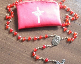 ROSARY and Carrying Case - SAINT THERESE Pray for Us - Vintage Red Colored Beads