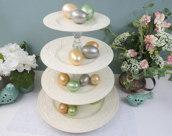 "REVOLVING Large 4-Tier Dessert Stand made from Vintage Wedgewood China, 13"" Lazy Susan Base,  Wedding Cupcake Display"