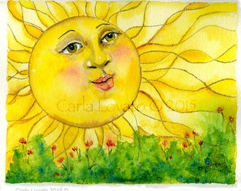 Sun face, Original painting, Watercolor original, 8 x 10 inches, Matted for 11 x 14, nursery decor, sun face wall art,