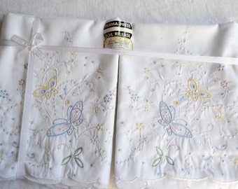 Vintage Madeira Pillowcases - Hand Embroidered Pastel Butterflies and Flowers - Standard Size Pair NOS
