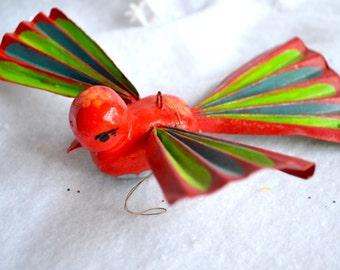 Vintage Christmas Ornament - De Sela Colorful Bird - Mexico Paper Mache