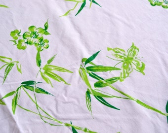 Vintage Bed Sheet - Lime Green Bamboo and Butterflies - Twin Flat