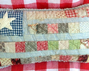 Flag pillow from Vintage Quilt Pieces