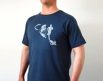 Triathlon tshirt blue, triathlon gifts, ironman triathlon, triathlon shirt, fitness clothing, sports t-shirt, sports t shirt, ironman