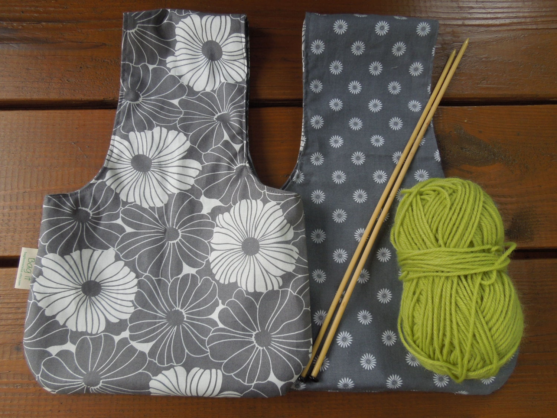 Knitting Yarn Bag Pattern : Reversible knitting bag yarn bag wristlet crochet or
