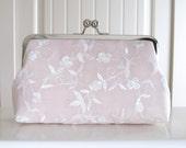 Delicate Silk Lace Clutch In Blush Pink,Bridal Accessories,Wedding Clutch,Bridal Clutch,Bridesmaid Clutches