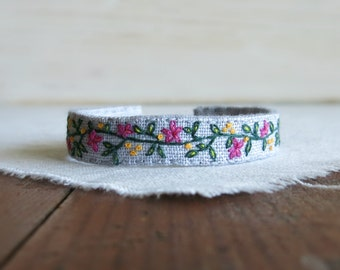 Floral Embroidered Cuff Bracelet - Raspberry Pink Flowers and Dark Green Vines on Light Grey Linen Cuff Bracelet