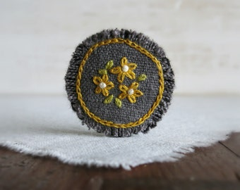 Yellow Daisy Hand Embroidered Fabric Brooch