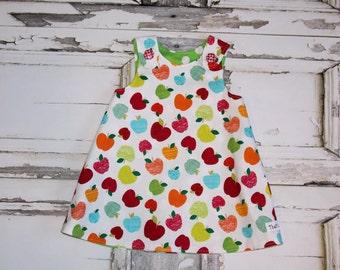 Ready to Ship! Apples A Line Aline Dress Readymade size 18 24 Months Gift Birthday Party Orchard Apple Picking