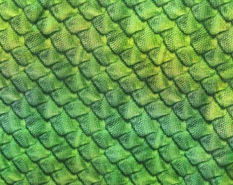 Green Dragon Scales Hologram Spandex Fabric