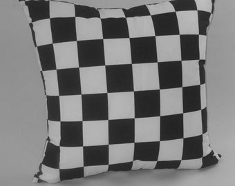 "RTS Black and white check nascar decorative pillow, 20"" square, check cushion"