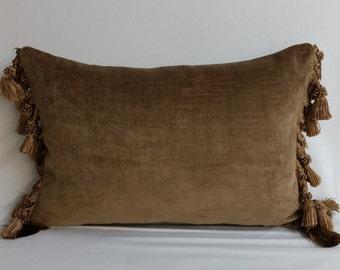 "RTS mocha brown velvet throw pillow, 18"" x 12""  upholstery weight cushion"