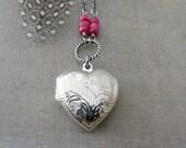Birthstone Locket Necklace, Genuine Ruby Locket, July Birthstone, Sterling Silver Locket Pendant, Silver Heart Locket Pendant, Push Gift