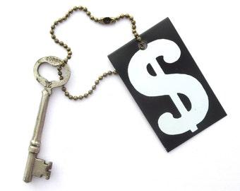 Vintage skeleton key Vintage heart skeleton key Vintage heart key Valentine key Christmas key Dollar sign fob Antique Corbin key Bit key #23