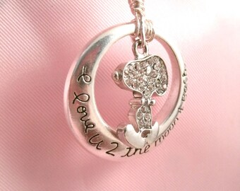 Snoopy Rhinestone Necklace in Circle love you to the moon and back Round Charm