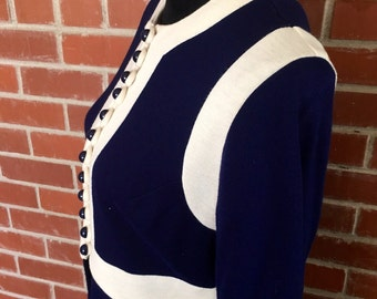 Gorgeous navy and white mod dress