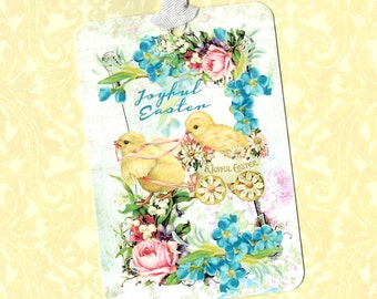 Easter, Tags, Joyful Easter, Florals, Baby Chicks, Gift Tags, Easter Basket Tags